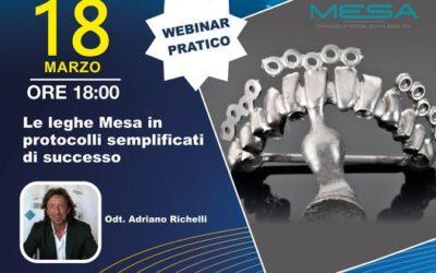 """Webinar Pratico 18.03.21: """"Le leghe Mesa in protocolli semplificati di successo"""""""