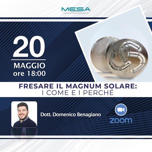 """Nuovo webinar 20.05.21: """"Fresare il Magnum Solare"""""""